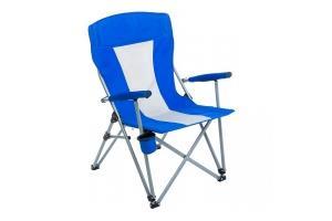 Кресло PREMIER складное, твердые тканевые подлокотники (синий/белый), нагрузка 200 кг