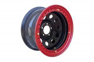 Диск усиленный JEEP стальной черный 5х114,3 8xR16 d84 ET-19 с бедлоком (красный)