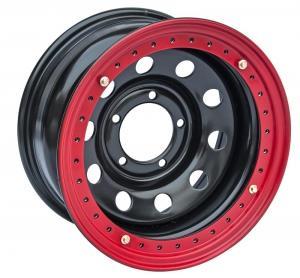 Диск усиленный УАЗ стальной черный 5x139,7 8xR16 d110 ET-19 с псевдо бедлоком (красный)