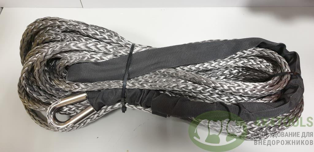 Трос синтетический для лебедки RusArmor 10мм под крюк (25м) серый