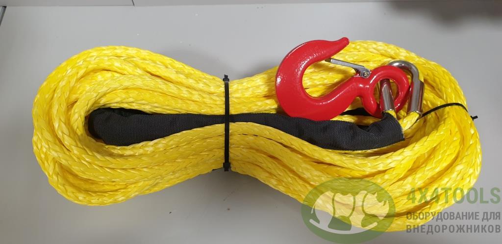 Трос синтетический для лебедки RusArmor 10мм с крюком (25м) желтый