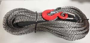 Трос синтетический для лебедки RusArmor 10мм с крюком (25м) серый