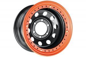 Диск усиленный Тойота Ниссан стальной черный 6x139,7 8xR15 d110 ET-19 с бедлоком (оранжевый)