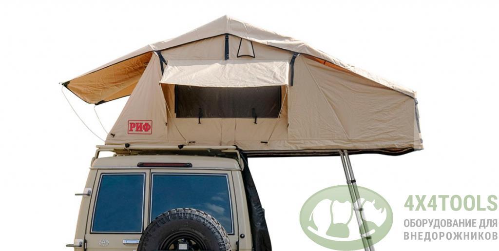 Палатка на крышу автомобиля РИФ Soft RT02-140, тент песочный