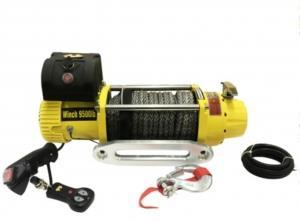 Лебёдка автомобильная электрическая 4x4 9500Lbs (4300кг) (12V) Желтая. Синтетический трос