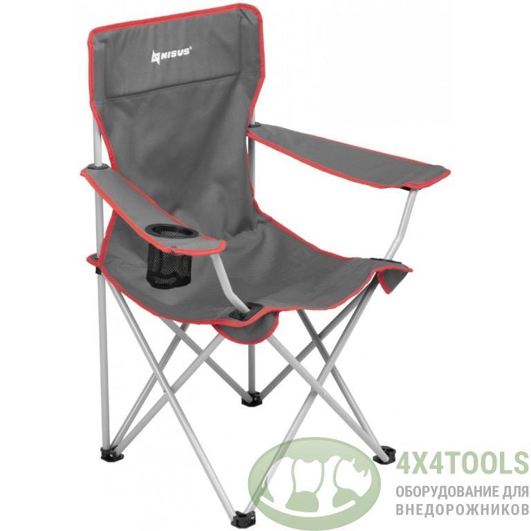 Кресло NISUS складное, с подлокотниками (серый/красный)