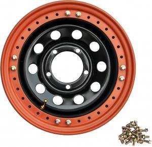 Диск усиленный УАЗ стальной черный 5x139,7 8xR16 d110 ET-3 с псевдо бедлоком (оранжевый)