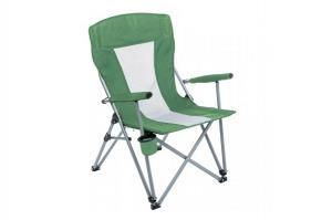 Кресло PREMIER складное, твердые тканевые подлокотники (зеленый/белый), нагрузка 200 кг