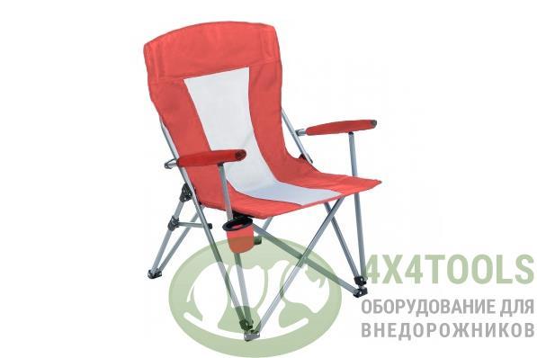 Кресло PREMIER складное, твердые тканевые подлокотники (красный/белый), нагрузка 200 кг